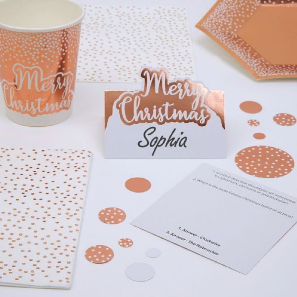 Merry Christmas Rose Gold & White Trivia Place Cards (10)